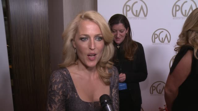 interview gillian anderson on the event what it takes to be a good producer at 25th annual producers guild awards at the beverly hilton hotel on in... - gillian anderson stock videos & royalty-free footage