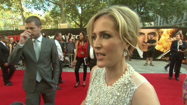 Gillian Anderson on the set being a lot of fun at the Johnny English Reborn UK Premiere at London England