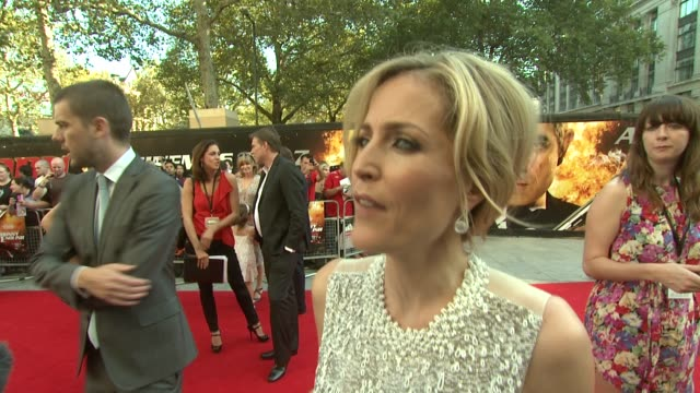 gillian anderson on whether she's a fan of rowan atkinson at the johnny english reborn uk premiere at london england. - rowan atkinson stock videos & royalty-free footage