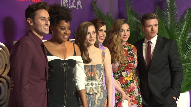 gillian jacobs vanessa bayer phoebe robinson richard madden humphrey ker lauryn kahn at new york preview screening of netflix's film ibiza at amc... - amc loews stock videos and b-roll footage