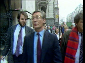 gillian taylforth libel case lost; itn lib 1988 england: london seq michael meacher mp arriving for libel case - gillian taylforth stock videos & royalty-free footage