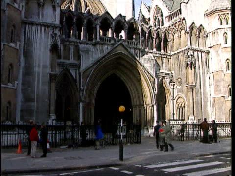 gillian taylforth libel case lost; itn lib ext gv high court tilt down gv entrance lagv high court - gillian taylforth stock videos & royalty-free footage