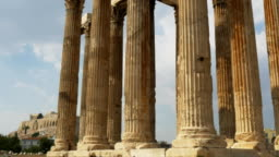 gimbal reveal of the acropolis at the temple of zeus athens, greece