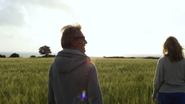 Vue de stabilisateur cardan du couple marchant dans le champ de céréales