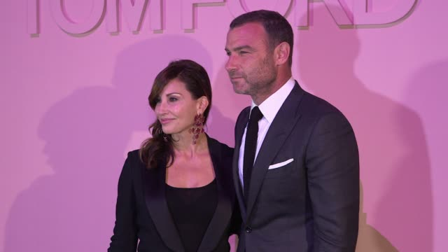 gina gershon and liev schreiber at tom ford new york fashion week spring 2018 at park avenue armory on september 06 2017 in new york city - waffenlager stock-videos und b-roll-filmmaterial