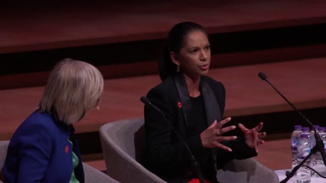 gina miiller sadiq khan and former prime minister of australia julia gillard speak at the women of the world festival in royal festival hall london... - royal festival hall stock videos and b-roll footage