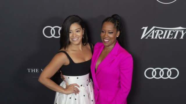 gina rodriguez and regina king at the variety's power of women: los angeles at the beverly wilshire four seasons hotel on october 12, 2018 in beverly... - フォーシーズンズホテル点の映像素材/bロール