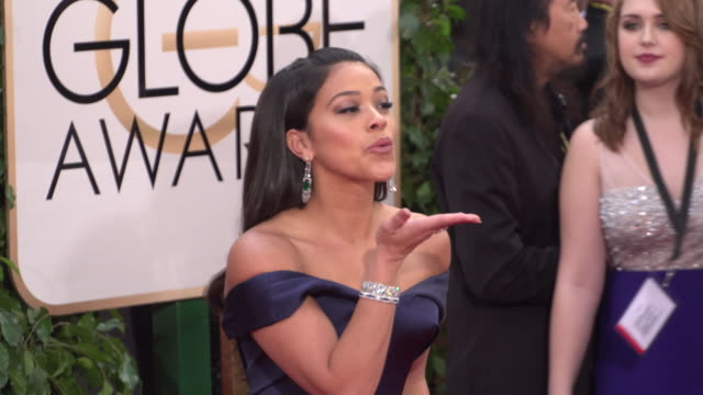 Gina Rodriguez at 73rd Annual Golden Globe Awards Arrivals at The Beverly Hilton Hotel on January 10 2016 in Beverly Hills California 4K