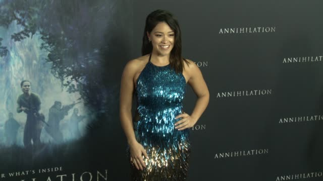 """gina rodriguez at the """"annihilation"""" premiere at regency village theatre on february 13, 2018 in westwood, california. - regency village theater stock videos & royalty-free footage"""