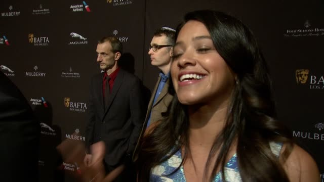 interview gina rodriguez on being at the event on what makes the bafta tea party one of the most prestigious events of the weekend and on getting... - tea party stock videos and b-roll footage