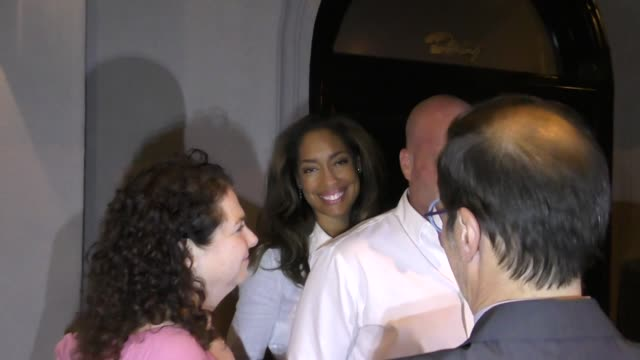 Gina Torres is asked about Meghan Markle's wedding outside Craig's in West Hollywood in Celebrity Sightings in Los Angeles