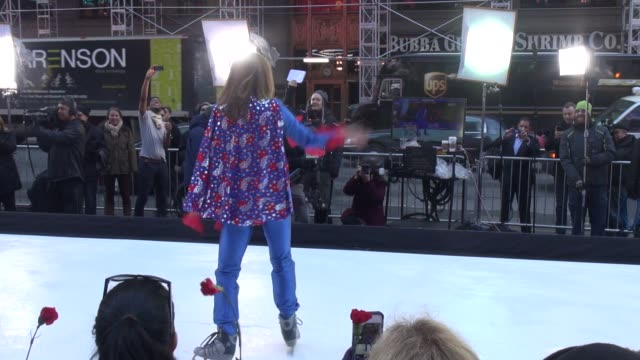 ginger zee figure skating on the outside set of the good morning america show in celebrity sightings in new york, - ginger zee stock videos & royalty-free footage