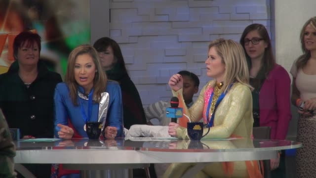 ginger zee & gma's sara haines still wearing their figure skating costumes & their gma games medals on the set of the good morning america show in... - ginger zee stock videos & royalty-free footage