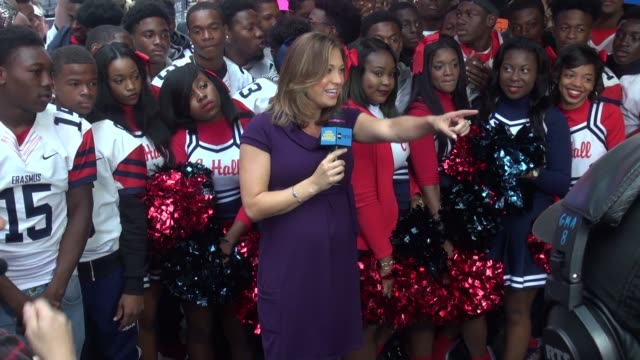 ginger zee outside the set of the 'good morning america' show in new york city on september 28, 2015 in new york city. - ginger zee stock videos & royalty-free footage