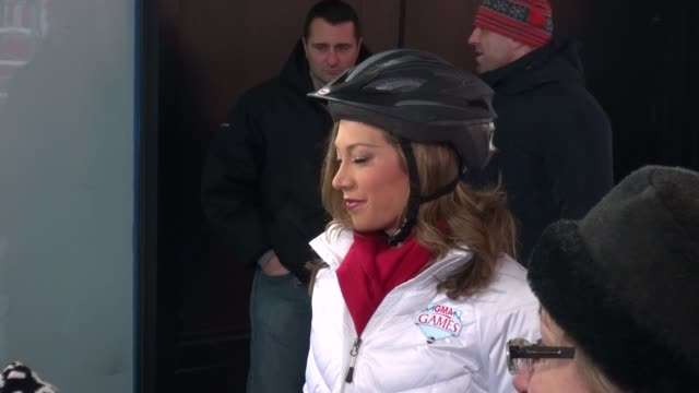 ginger zee wearing a roller blade helmet on the outside set of the good morning america show in celebrity sightings in new york, - ginger zee stock videos & royalty-free footage