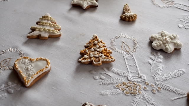 gingerbread christmas cookies on the table. - cottage stock videos and b-roll footage