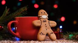 Gingerbread cookie wearing mask