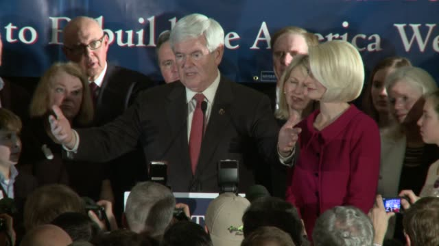 gingrich attacks president obama as socialist newt gingrich acceptance speech after winning south carolina primary at hilton ballroom on january 21... - vorwahl stock-videos und b-roll-filmmaterial