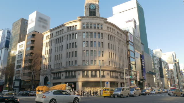 ginza 4 chome intersection in tokyo, japan - corner stock videos & royalty-free footage