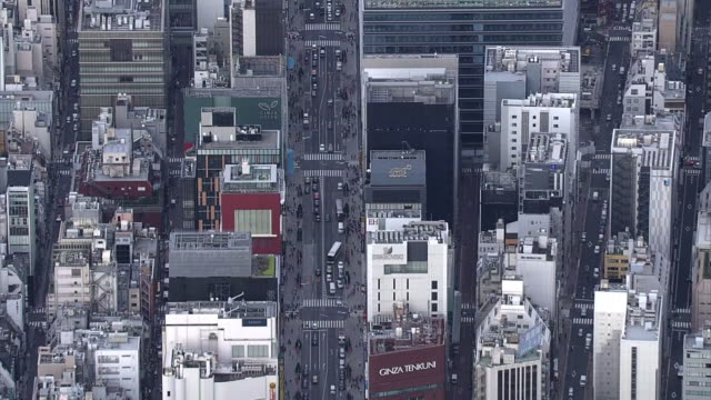 aerial, ginza along chuodori st, tokyo - ginza stock videos & royalty-free footage