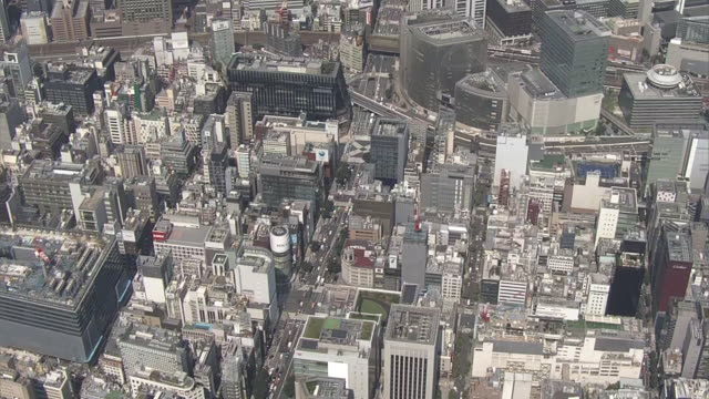 aerial, ginza area, tokyo, japan - ginza stock videos & royalty-free footage