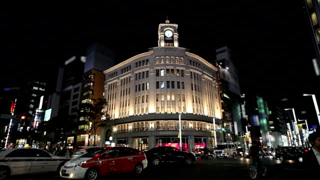 ginza at dusk in tokyo - ginza stock videos & royalty-free footage