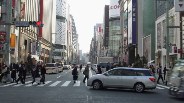 ginza avenue in tokyo, japan - ginza stock videos & royalty-free footage