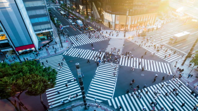 ginza crossing time lapse 4k - population explosion stock videos & royalty-free footage