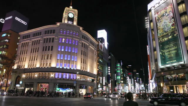 ginza night traffic - ginza stock videos & royalty-free footage
