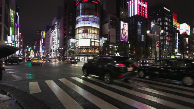 ginza night traffic - travel poster stock videos & royalty-free footage