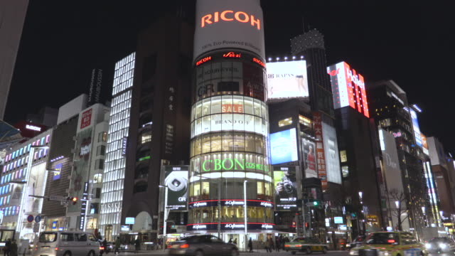 ginza night view - digital signage stock videos and b-roll footage