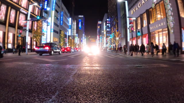 ginza pedestrian crossing in tokyo - plusphoto stock videos & royalty-free footage