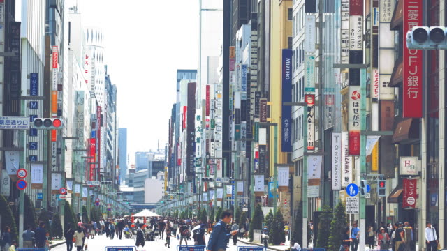 ginza shopping town in tokyo - ginza stock videos & royalty-free footage