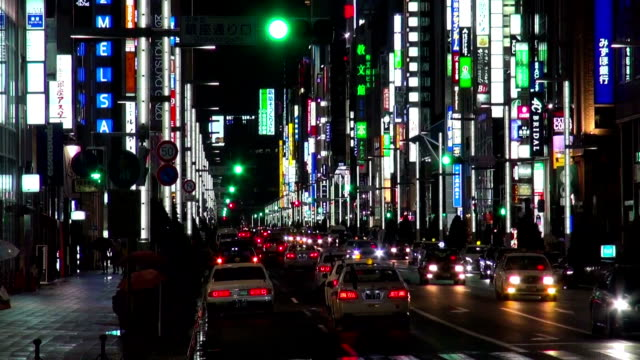 ginza traffic at night in tokyo, japan - ginza stock videos & royalty-free footage