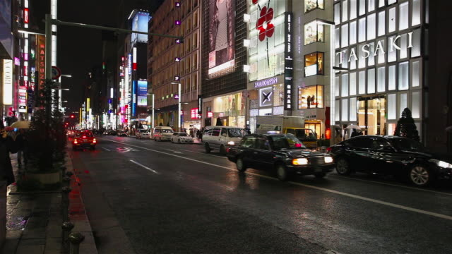 ginza traffic at night - ginza stock videos & royalty-free footage
