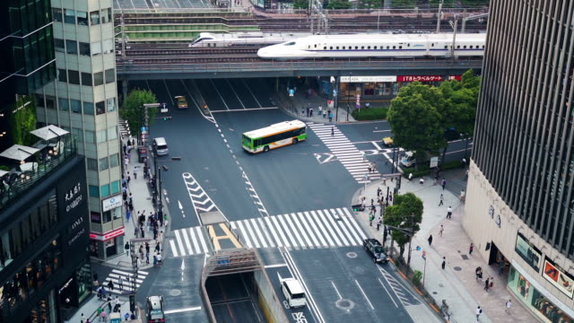 ginza zebra crossing. - footbridge stock videos & royalty-free footage
