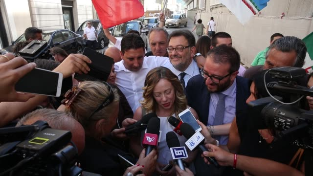 Giorgia Meloni visits L'Aquila after the winning of new mayor of L'Aquila Pierluigi Biondi in L'Aquila Italy on June 26 2017 In L'Aquila a city in...