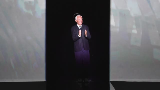 Giorgio Armani acknowledges the applause of the audience after his show during Milan Fashion Week Spring/Summer 2019 on September 23 2018 in Milan...