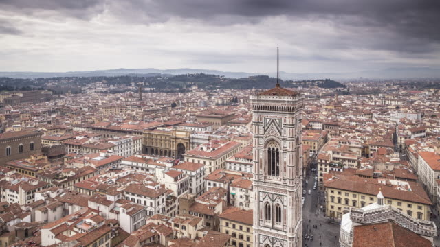 giotto's bell tower and the city of florence, tuscany, italy. - tower stock videos & royalty-free footage