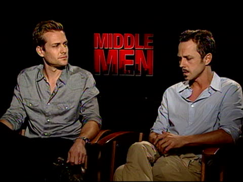giovanni ribisi & gabriel macht on if they found themselves asking producer christopher mallick about his real-life experiences at the 'middle men'... - giovanni ribisi stock videos & royalty-free footage