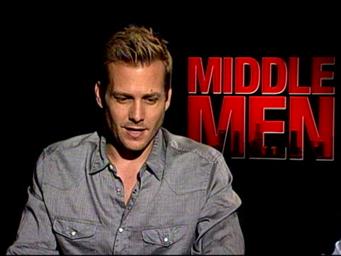 giovanni ribisi & gabriel macht on their first thought when they read the script at the 'middle men' junket at los angeles ca. - giovanni ribisi stock videos & royalty-free footage