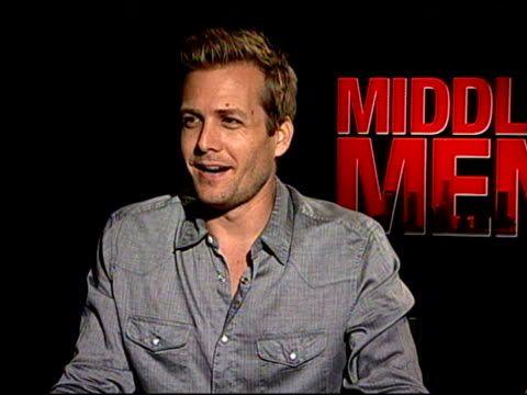giovanni ribisi & gabriel macht on what type of research they did for their roles at the 'middle men' junket at los angeles ca. - giovanni ribisi stock videos & royalty-free footage