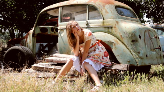girl and an old car - bad condition stock videos & royalty-free footage