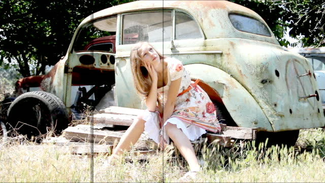 girl and an old car - weathered stock videos & royalty-free footage