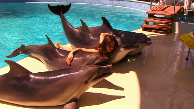 stockvideo's en b-roll-footage met girl and dolphins - op de buik liggen