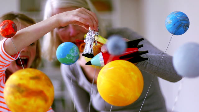 girl and her grandmother exploring space - grandparent stock videos & royalty-free footage