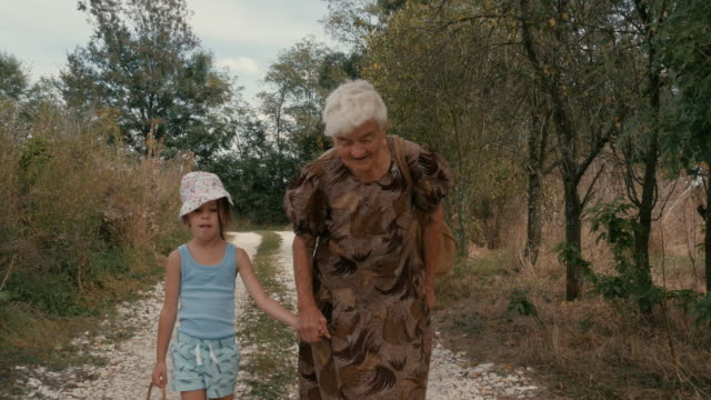 a girl and her grandmother walk the dusty country road. real people, rural scene. - over 80 stock videos and b-roll footage