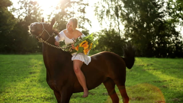girl and her horse on meadow - women doing farm animals stock videos and b-roll footage