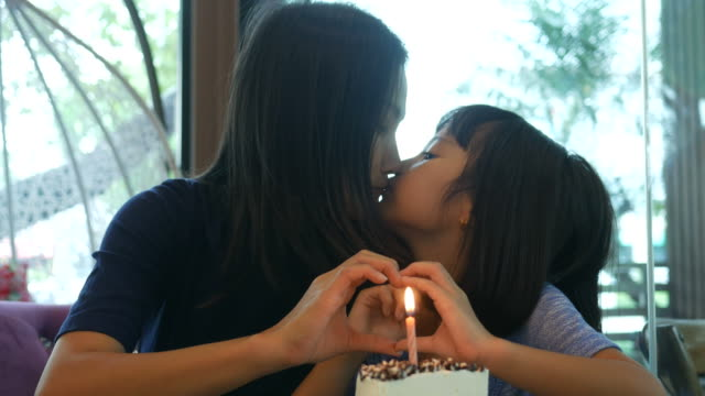 girl and mother enjoy with birthday's cake , hand play heart sign