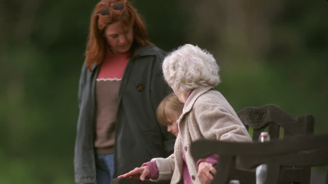 vídeos de stock e filmes b-roll de ms girl and mother walking over to grandmother and hugging her in park / washington state, usa - sentar se